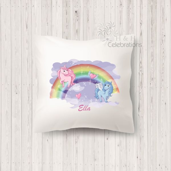Rainbow Unicorn Personalised Cushion